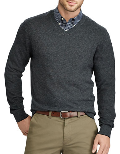 Chaps Big and Tall V-Neck Sweater-BLACK-4X Big