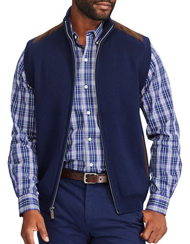 Chaps Full Zip Sweater Vest-NAVY-4X Big