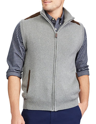 Chaps Full Zip Sweater Vest-GREY-2X Big
