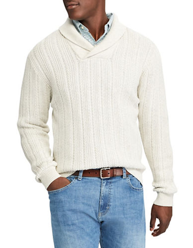 Chaps Crossover Cotton Pullover-NATURAL-3X Big