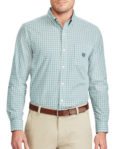 Chaps Checked Casual Button-Down Shirt-GREEN-2X Tall