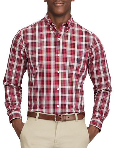 Chaps Plaid Casual Button-Down Shirt-RED-4X Big