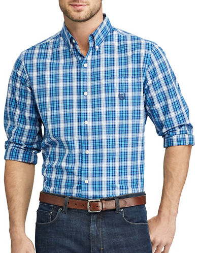Chaps Plaid Casual Button-Down Shirt-BLUE-1X Tall