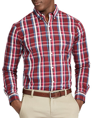 Chaps Plaid Casual Button-Down Shirt-RED-3X Tall