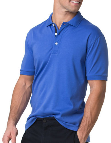 Chaps Big and Tall  Cotton Interlock Polo Shirt-BLUE-Medium