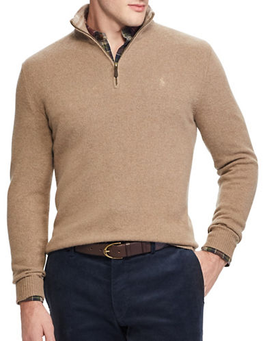 Polo Ralph Lauren Rib-Knit Half-Zip Sweater-BROWN-X-Large
