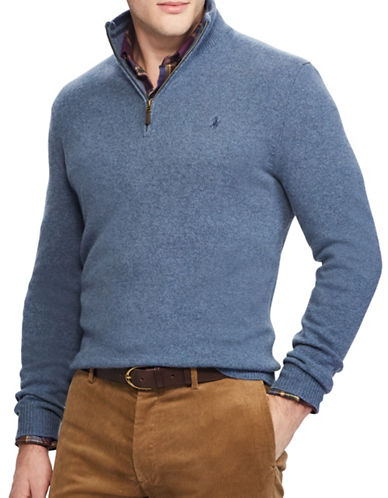 Polo Ralph Lauren Rib-Knit Half-Zip Sweater-BLUE-Large