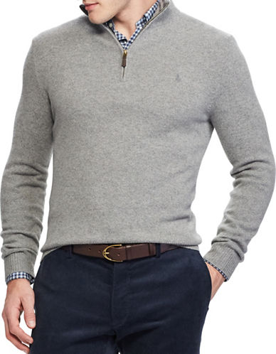 Polo Ralph Lauren Rib-Knit Half-Zip Sweater-GREY-Medium