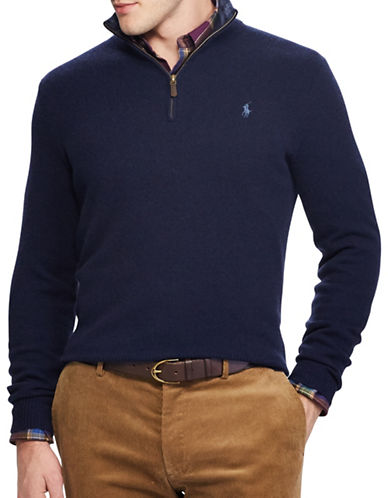 Polo Ralph Lauren Rib-Knit Half-Zip Sweater-NAVY-Medium