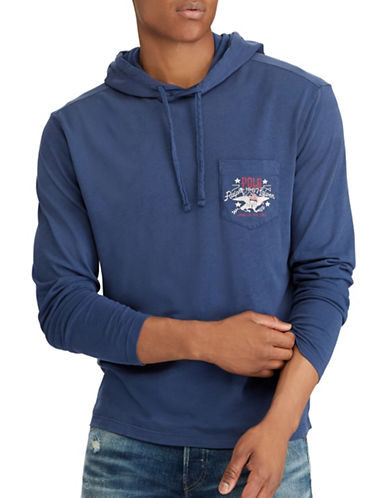 Polo Ralph Lauren Cotton Graphic Hoodie-BLUE-Large