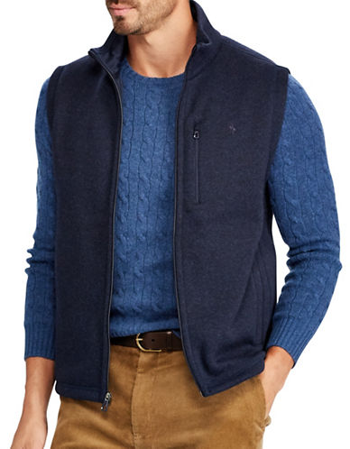 Polo Ralph Lauren Big and Tall Fleece Mockneck Vest-BLUE-Large Tall