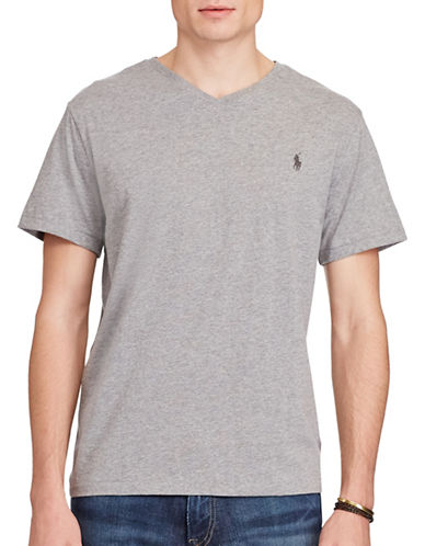 Polo Ralph Lauren Cotton Jersey V-Neck T-Shirt-GREY-Large 88691394_GREY_Large