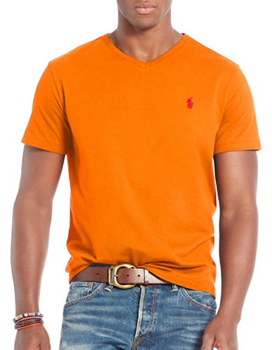 Polo Ralph Lauren Cotton Jersey V-Neck T-Shirt-ORANGE-Large 88691406_ORANGE_Large