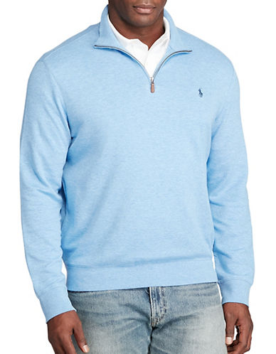Polo Ralph Lauren Cotton-Blend Jersey Pullover-BLUE HEATHER-4X Big