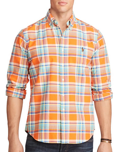 Polo Ralph Lauren Big and Tall Plaid Oxford Shirt-ORANGE/ROYAL-5X Tall