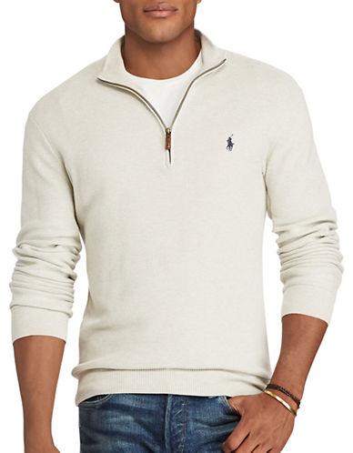 Polo Ralph Lauren Big and Tall Pima Cotton Half-Zip Sweater-LIGHT GREY HEATHER-3X Tall