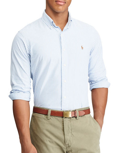 Polo Ralph Lauren Slim-Fit Striped Stretch Oxford Shirt-BLUE-X-Large