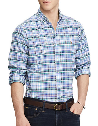 Polo Ralph Lauren Slim-Fit Checked Stretch Oxford Shirt-BLUE-X-Large