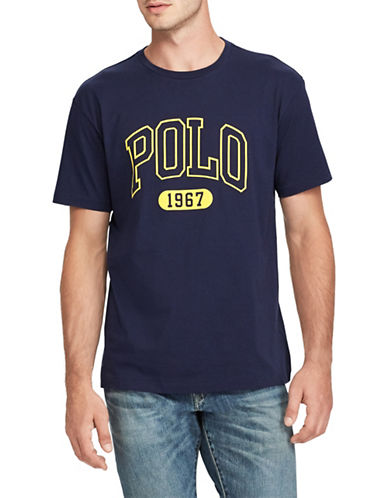 Polo Ralph Lauren Logo Short-Sleeve Cotton Tee-NAVY BLUE-Large