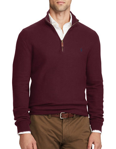 Polo Ralph Lauren Half-Zip Cotton Sweater-RED-Medium