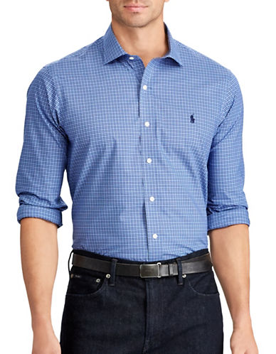 Polo Ralph Lauren Classic Fit Plaid Cotton Shirt-BLUE-5X Tall