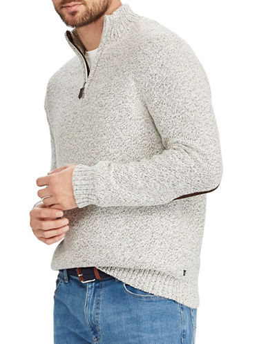 Chaps Elbow Patch Sweater-NATURAL-Small
