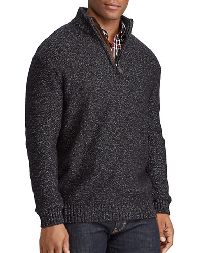 Chaps Elbow Patch Sweater-BLACK-X-Large