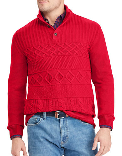 Chaps Patterned Cotton Sweater-RED-X-Large