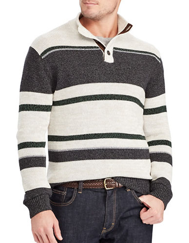 Chaps Striped Cotton Sweater-GREY-Small