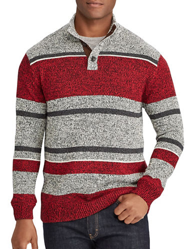 Chaps Striped Cotton Sweater-RED-X-Large 89529244_RED_X-Large