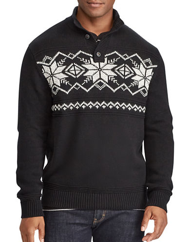 Chaps Intarsia Patterned Cotton Sweater-BLACK-Medium