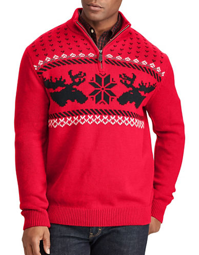 Chaps Christmas Cotton Sweater-RED-Small