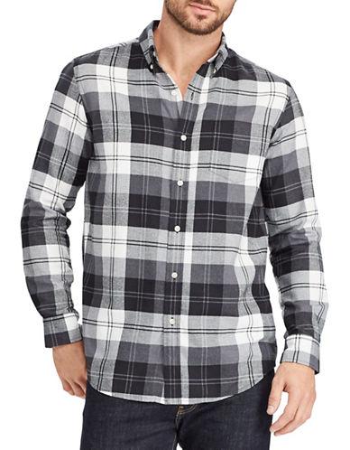 Chaps Plaid Sport Shirt-BLACK-Small