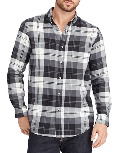 Chaps Plaid Sport Shirt-BLACK-X-Large