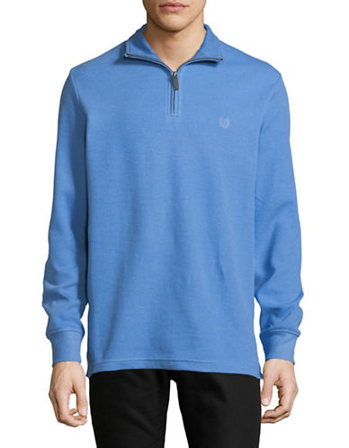 Chaps Half-Zip Pullover-BLUE-Small