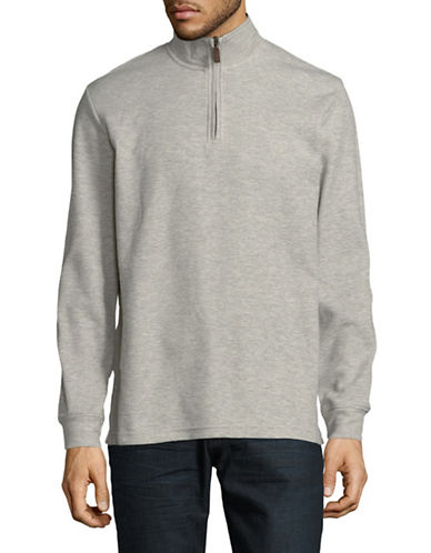 Chaps Heathered Pullover-GREY-Small