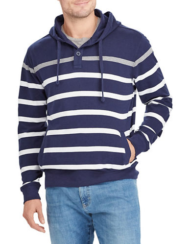 Chaps Striped Cotton Hoodie-NAVY-Small