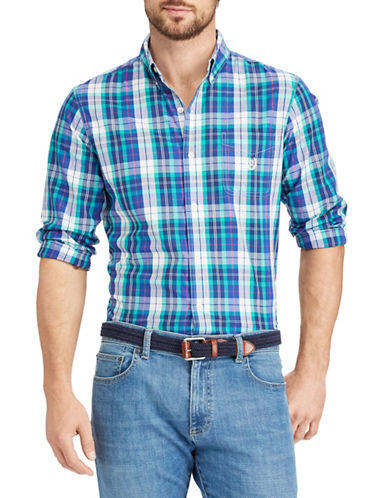 Chaps Plaid Stretch Sportshirt-GREEN-Medium