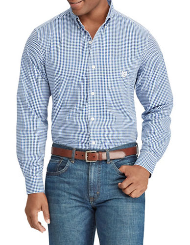 Chaps Gingham Stretch Sportshirt-BLUE-Small