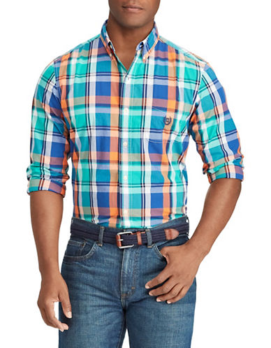 Chaps Plaid Stretch Sportshirt-BLUE-Small