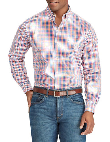 Chaps Gingham Stretch Sportshirt-WHITE-X-Large