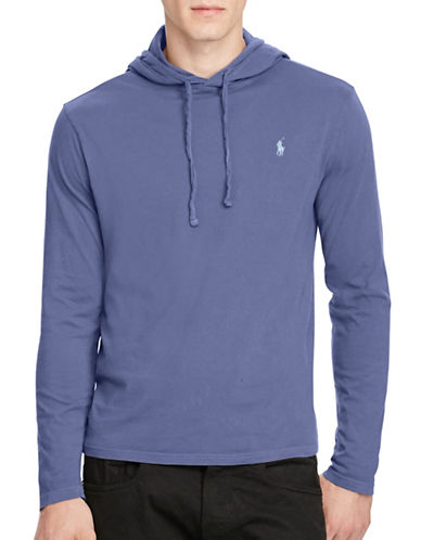 Polo Ralph Lauren Drawstring Cotton Jersey Hoodie-LIGHT NAVY-Large
