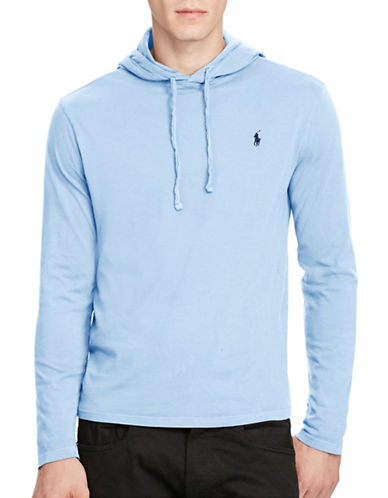 Polo Ralph Lauren Drawstring Cotton Jersey Hoodie-COURSE BLUE-Small