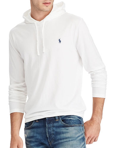 Polo Ralph Lauren Drawstring Cotton Jersey Hoodie-WHITE NAVY-X-Large