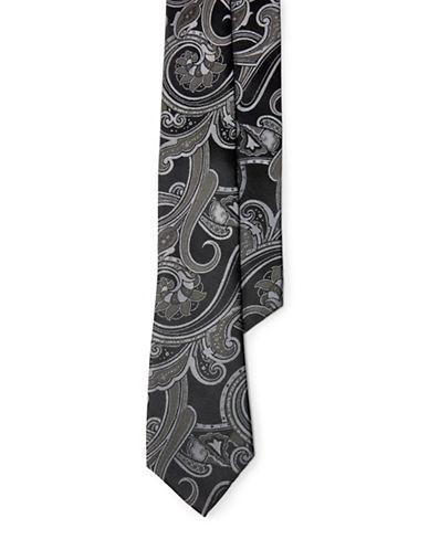 Lauren Green Paisley Silk Jacquard Tie-BLACK/GREY-One Size