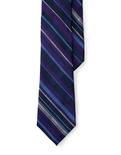 Lauren Green Silk-Blend Plaid Tie-NAVY/PURPLE-One Size