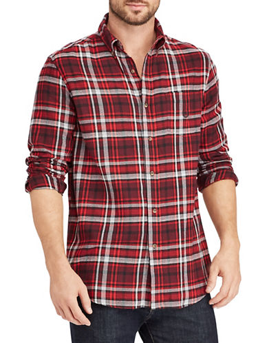 Chaps Performance Flannel Sport Shirt-RED-Large