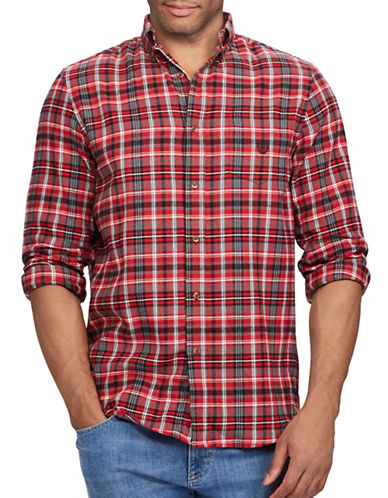 Chaps Performance Flannel Sport Shirt-RED-X-Large