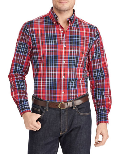 Chaps Plaid Logo Sportshirt-RED-Medium