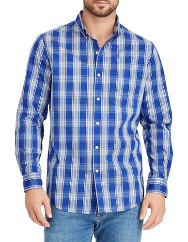 Chaps Plaid-Print Stretch Sport Shirt-BLUE-Small